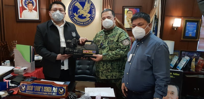 PBGEN MARVIN MANUEL PEPINO, Director, ACG together with MR MELCHOR LUSABIA, ACG-National Advisory Council Member received donation of a Sony HXR-MC2500 Camera